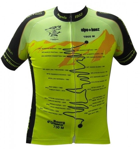 ALPE D'HUEZ Winner yellow fluo short sleeves jersey 2017