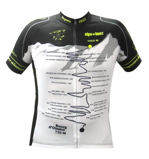ALPE D'HUEZ Winner black yellow fluo short sleeves jersey 2017