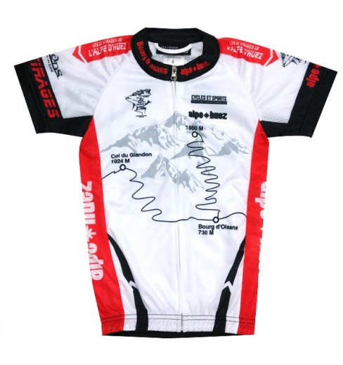 ALPE D'HUEZ white / red kid's jersey 2017