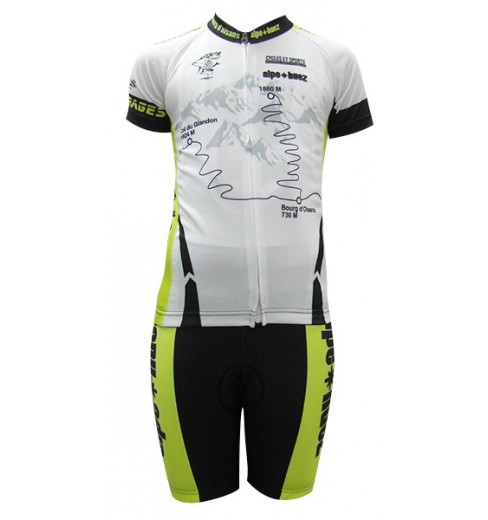ALPE D'HUEZ white / green kid's cycling set 2017