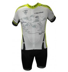 ALPE D'HUEZ cycling kit wih white / green jersey