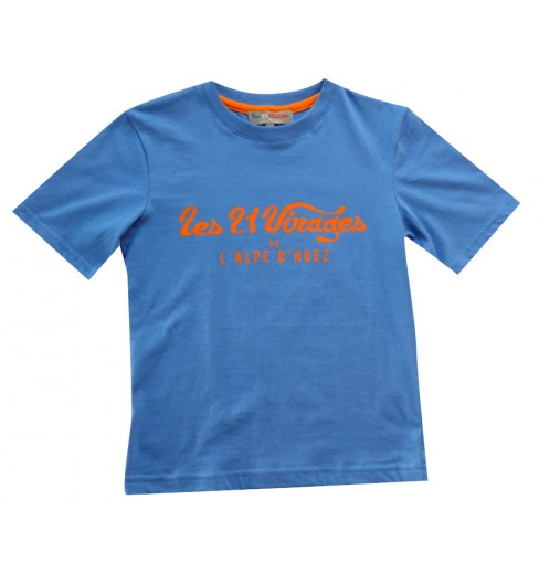 ALPE D'HUEZ  t-shirt enfant 21 Virages bleu orange