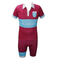 RAFA'L Vintage burgundy light blue cycling set 2018
