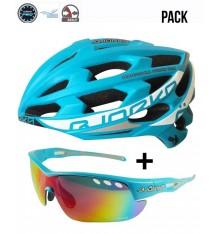 Pack casque vélo route BJORKA Sprinter bleu + lunettes de sport BJORKA Stinger