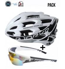 Pack casque vélo route BJORKA Sprinter blanc + lunettes de sport BJORKA Stinger