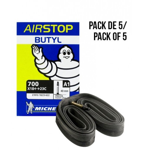 Pack de 5 chambres à air MICHELIN BUTYL A1 700x18/23 valve de 40 mm