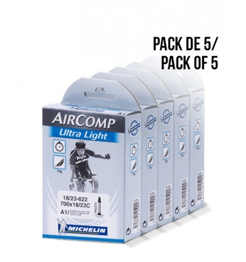 Pack de 5 chambres à air MICHELIN Ultra-Light 700x18/23 val. 60 mm