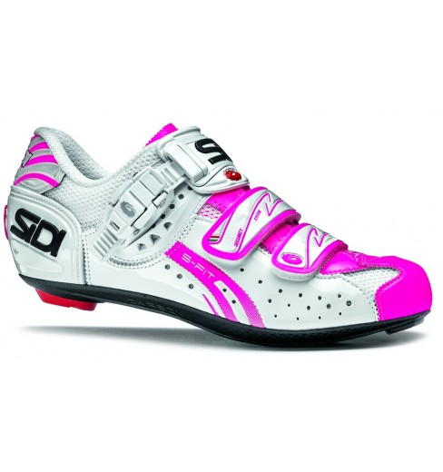 sidi chaussures femme genius 5 fit blanc rose fluo 2015 cycles et sports. Black Bedroom Furniture Sets. Home Design Ideas