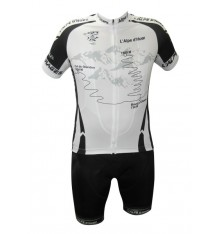 ALPE D'HUEZ cycling kit with black white short sleeves jersey