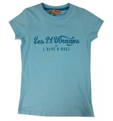 ALPE D'HUEZ turquoise blue 21 Virages kids' t-shirt