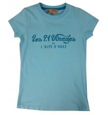 ALPE D'HUEZ  t-shirt femme 21 Virages bleu turquoise