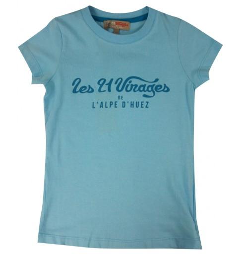 ALPE D'HUEZ turquoise blue 21 Virages woman t-shirt
