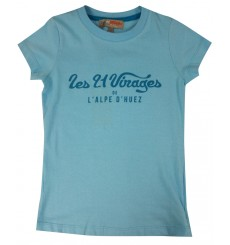 ALPE D'HUEZ turquoise blue 21 Virages woman t-shirt