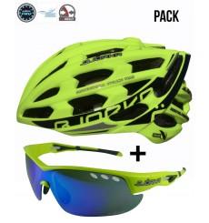 Pack casque vélo route BJORKA Sprinter jaune + lunettes de sport BJORKA Stinger