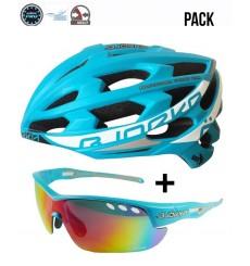BJORKA Sprinter blue road bike helmet + BJORKA Stinger sunglasses pack