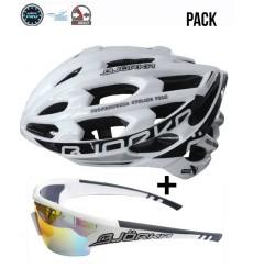 BJORKA Sprinter white road bike helmet + BJORKA Stinger sunglasses pack