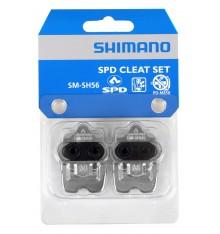 Paire de cales VTT Shimano SM-SH56 SPD multidirectionnel + plaque argent