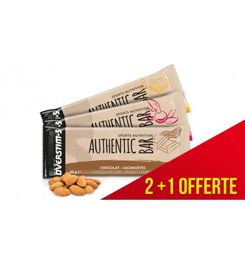Pack de 3 barres énergétiques OVERSTIMS  Authentic Bar 65 g - 1 offerte