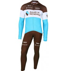 AG2R winter cycling set 2018 with long sleeve jersey