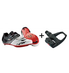 Chaussures velo route NORTHWAVE Torpedo junior + pédales Shimano R540