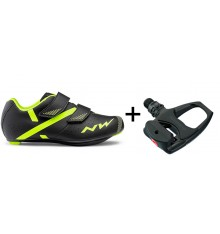 Chaussures velo route NORTHWAVE Torpedo 2 Junior + pédales Shimano R540