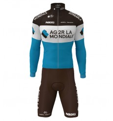 AG2R 2020 cycling set with long sleeve jersey