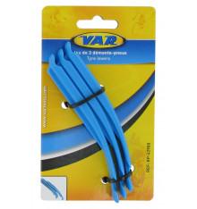 Jeu de 3 démonte-pneus VAR Emboîtables Nylon Bleu