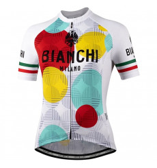 Maillot vélo manches courtes femme BIANCHI MILANO Ancipa blanc - multicolore 2021
