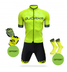 BJORKA COMBO CYCLING OUTFIT TEAM PRO JERSEY + PREMIUM BLACK / YELLOW BIB SHORTS 2021
