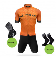 BJORKA COMBO CYCLING OUTFIT TEAM PRO JERSEY + PREMIUM BLACK / ORANGE BIB SHORTS