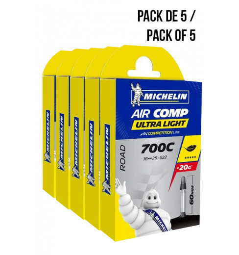 Pack of 5 MICHELIN Ultra-Light tire tubes 700x18/23 val. 60 mm