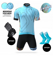 BJORKA COMBO TENUE CYCLISTE MAILLOT SNAKE + CUISSARD SNAKE BLEU TURQUOISE 2021