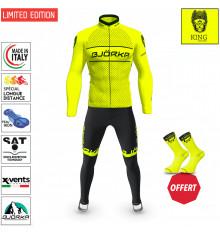BJORKA Winter Cycling set KING Neon Yellow thermal jacket + tights 2022