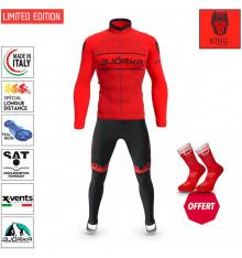 BJORKA WINTER CYCLING SET KING RED BLACK THERMAL JACKET + TIGHTS 2022