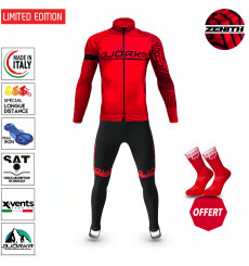 BJORKA WINTER CYCLING SET ZENITH RED BLACK THERMAL JACKET + TIGHTS 2022