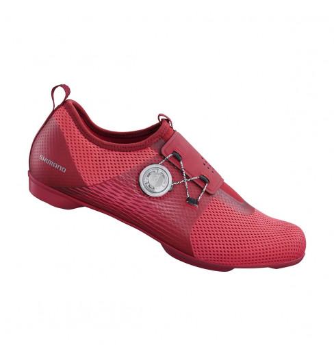Chaussures vélo de salle femme SHIMANO IC500 rouge 2020