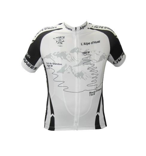 ALPE D'HUEZ maillot noir blanc manches courtes