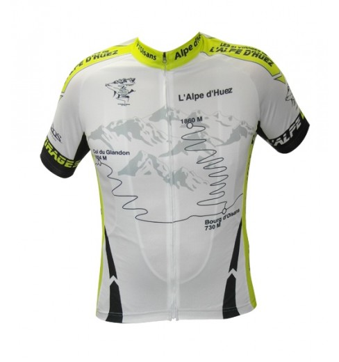 ALPE D'HUEZ fluo yellow-white short sleeves jersey